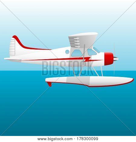 White seaplane. Hydroplane in the sky over the sea. Vector illustration.