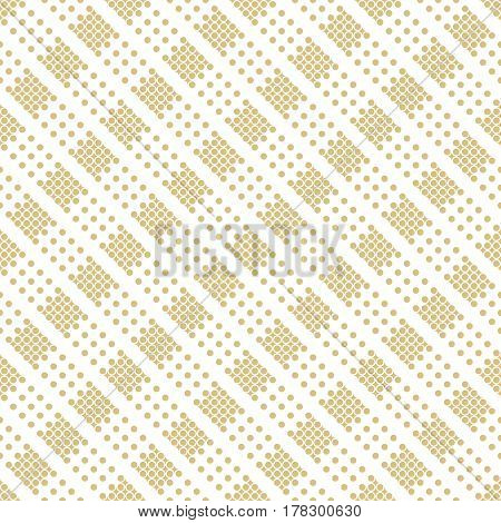 Vector seamless pattern. Infinitely repeating stylish elegant texture consisting of small dots and rhombuses which form diagonal strips. Modern geometrical textured ornamental background.