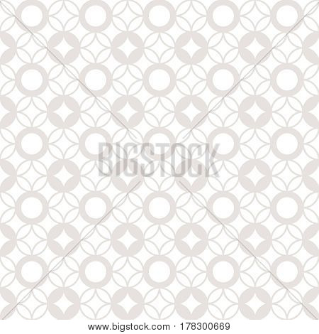 Vector seamless pattern. Infinitely repeating stylish elegant texture consisting of dots and rhombuses. Modern geometrical textured ornamental background.