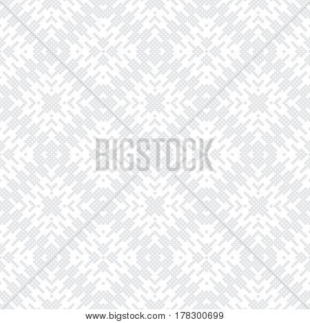 Vector seamless pattern. Infinitely repeating stylish elegant texture consisting of small dots which form zigzag dotted shapes and rhombus tiles. Modern geometrical textured ornamental background.