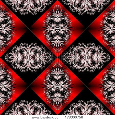 Two-tone seamless pattern with floral and square ornament.