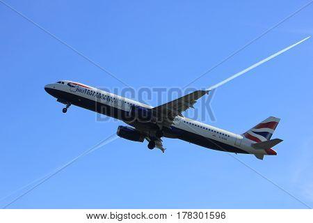 Amsterdam the Netherlands - March 25th 2017: G-EUXG British Airways Airbus A321-200 takeoff from Polderbaan runway.