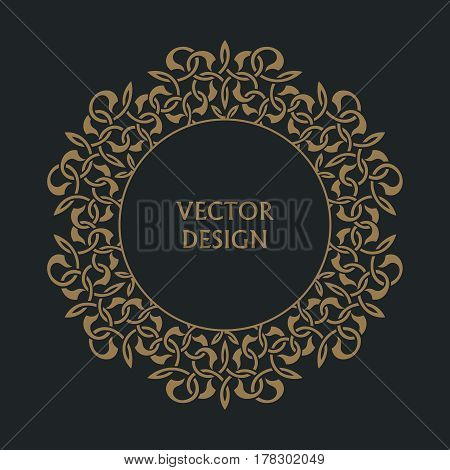 Circular arabic pattern. Round baroque ornament. Vintage frame. Greeting card. Wedding invitation. Retro style. Vector logo template labels and badges