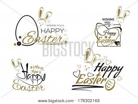 Happy Easter. Greeting inscription with the Easter bunny and Easter eggs. Vector Easter art hand lettering text. Vector illustration