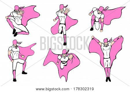 Supermen actions set. Hand drawn vector illustration. Superhero models in various poses.