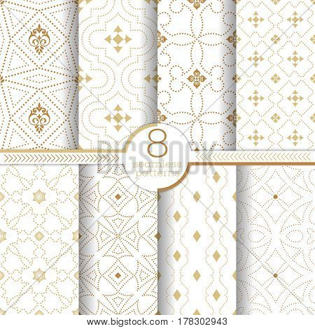 Set of vector seamless pattern. Infinitely repeating stylish elegant textures consisting of small dots which form different dotted ornaments. Modern geometrical textured ornamental backgrounds.