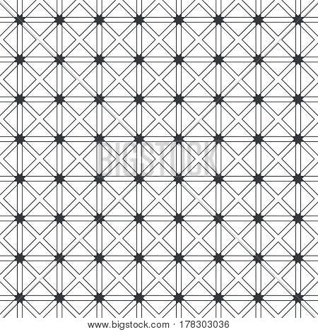 Vector seamless pattern. Infinitely repeating modern geometrical texture consisting of thin lines which form tiled linear grid with rhombuses squares stars. Abstract textured background.