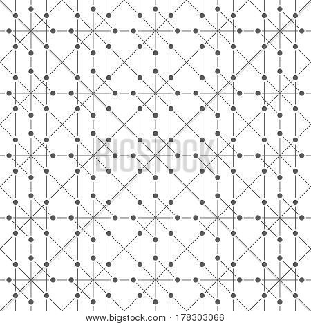 Vector seamless pattern. Infinitely repeating original techno texture consisting of thin lines and dots. Abstract geometrical background.
