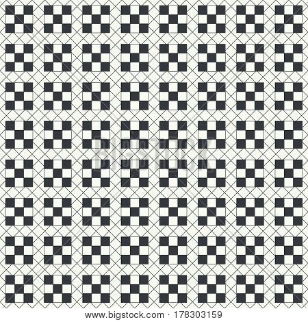Vector seamless pattern. Infinitely repeating modern geometrical texture consisting of thin lines which form tiled linear grid with rhombuses checkered squares. Abstract background.