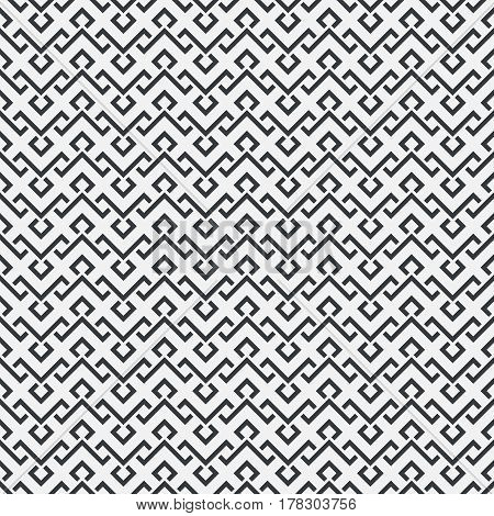 Vector seamless pattern. Infinitely repeating stylish elegant texture consisting of zigzag strips and rhombuses. Abstract geometrical background.