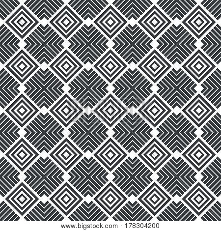 Vector art deco seamless pattern. Infinitely repeating stylish modern texture consisting of geometrical tiles with corner strips rhombuses diamonds.