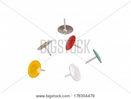 Multi colored drawing-pins isolated on white background