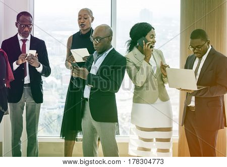 Diverse business people with busy day