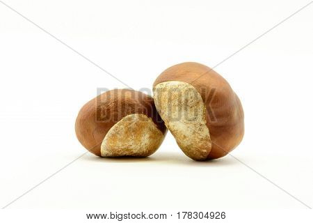 Closeup Chestnuts Isolated On White Background