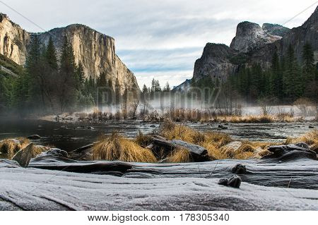 El Capitan and Merced River winter time Yosemite National Park
