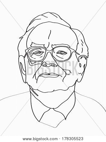 March, 2017: Investor and economist Warren Buffett forecasts stocks maket changes will continue to rise. Warren Buffett line portrait on light gray background, vector illustration