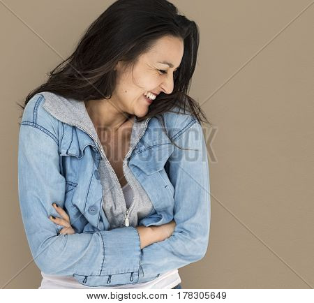 Woman Smiling Happiness Casual Studio Portrait