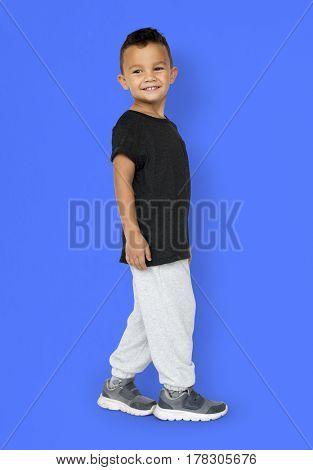 Little Boy Gesture Face Smile Expression Studio Portrait