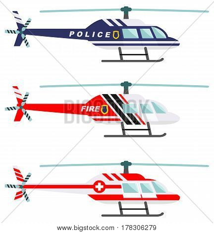 Detailed illustration of medical, police and fire helicopter in flat style on white background.