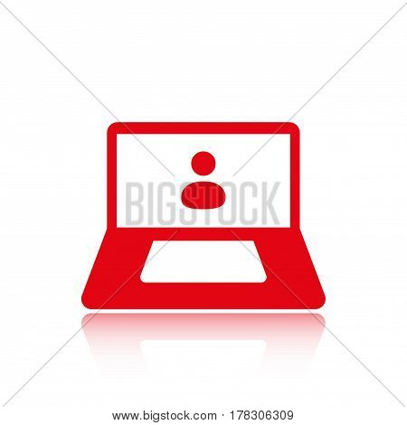 laptop with user icon in the middle vector illustration flat design