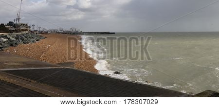 Rough seas along the south coast in Portsmouth, england