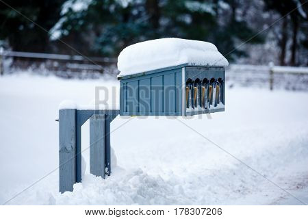 Snow covered mailboxes after a Wisconsin snow storm.