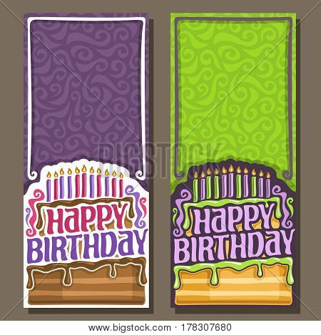 Vector cards Happy Birthday: 11 burning candles on celebration cake with drip chocolate, greeting lettering title text happy birthday, congratulations with happy holiday clip art on curly background.