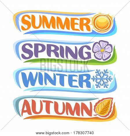Vector horizontal banners Four Seasons: spring - lavender flower sharon, summer - hot sunshine, autumn - fall leaf, winter - frost snowflake, abstract logo all 4 seasons isolated on white background.