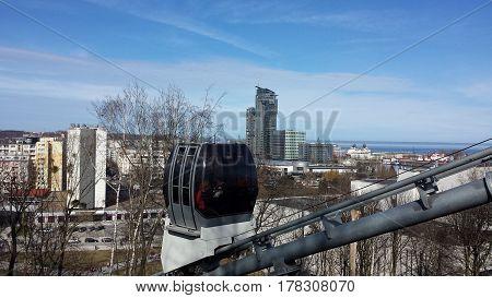 Cable-terrain railway on Kamienna Gora in Gdynia, Poland