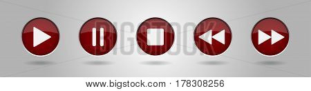 burgundy music control buttons - five icons with shadows in front of a gray background