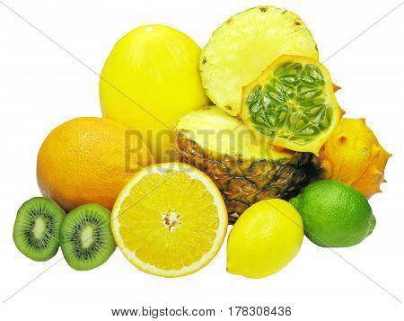 pineapple kiwi lemon lime horned melon orange honey melon fruits