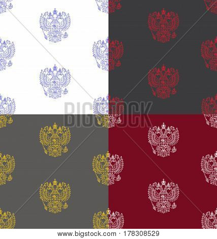 Vector set of four seamless patterns with outlined coat of arms of Russian Federation with two-headed eagle in different colors - blue on white, red on dark gray, yellow on gray, white on burgundy.