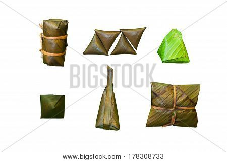 Many Ways To Wrap Food Or Dessert With Banana Leaves In Thai Style, Isolated