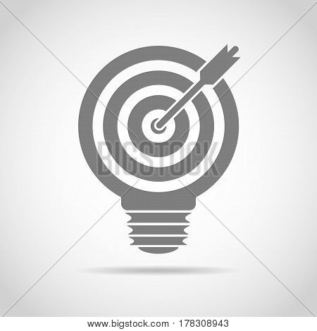 Light bulb with target and arrow inside. Vector Illustration. Concept of a define the goal.