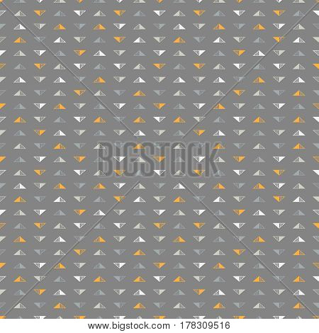Seamless background with a lot of small orange white and grey triangles placed in direct and inverse position on dark grey backdrop
