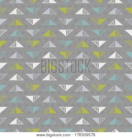 Abstract seamless background with triangles in white light grey turquoise and green colors on dark grey backdrop