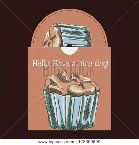 CD cover pattern. Drawing muffin, vector illustration