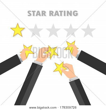 Rating stars and businessman hand giving star. Giving rating stars. Having feedback and quality. Vector illustration.
