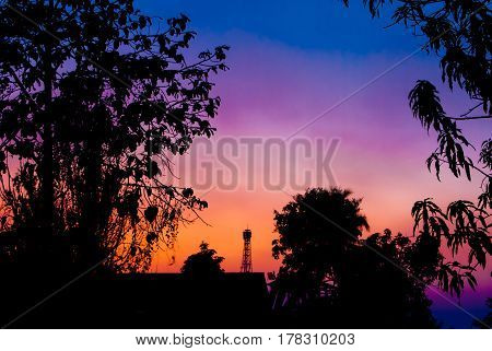 Silhouette of Trees, Building, and Telecom Tower in Evening