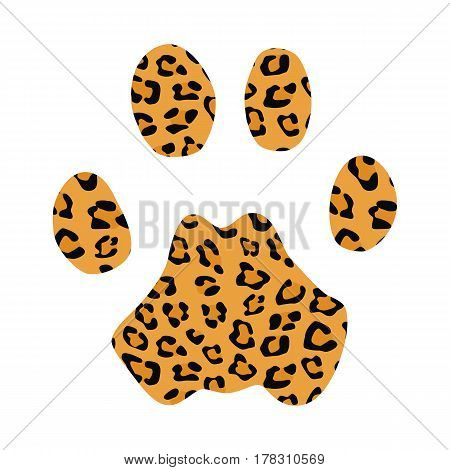 Isolated footprint of leopard with skin print on white background.