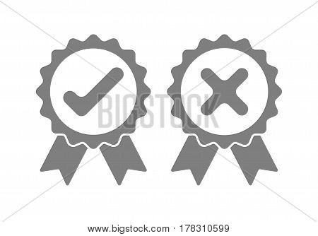 Gray approved and rejected icons. Check mark and cross mark on white background. Vector illustration.