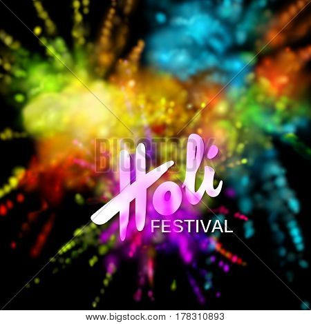 Happy Holi festival of colors. Vector holiday illustration of colorful powder paint explosive clouds. Vibrant indian Holi festival background. Poster, banner or wallpaper template