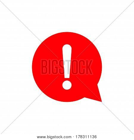 Red exclamation mark sign. Round hazard warning symbol. Vector Icon