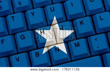 Internet access in Somalia The Somali flag on a computer keyboard 3D Illustration