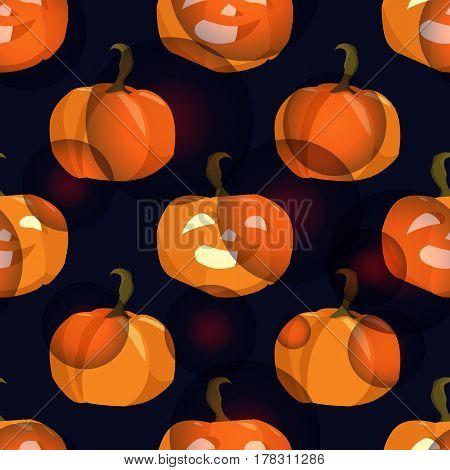 pumpkins - seamless background for halloween on black background