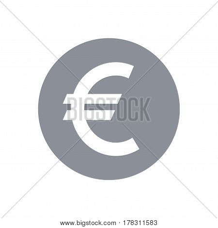 Euro round coin sign icon. EUR, Vector Illustration