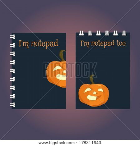 Two templates of notebook or sketchbook cover. Halloween pumpkin