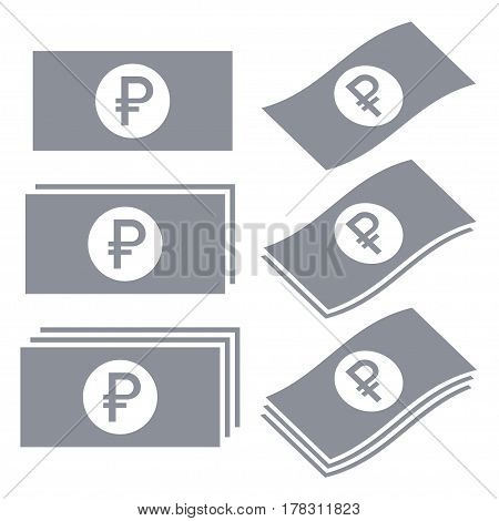 Russian ruble banknotes vector icons. Money icon set