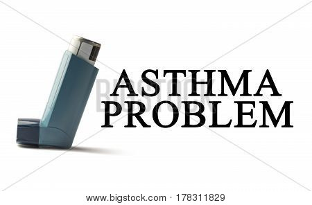 Inhaler on a white background with the words Asthma. Treatment of respiratory diseases. World Asthma day