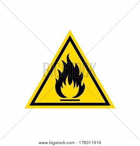 Flammable sign, flame pictogram. Yellow triangle icon